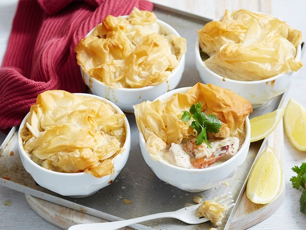 Thai curry seafood filo pie