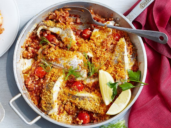 Roasted fish with harissa, red wine and pearl couscous