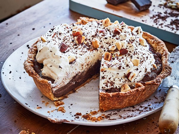Chocolate custard and cream pie
