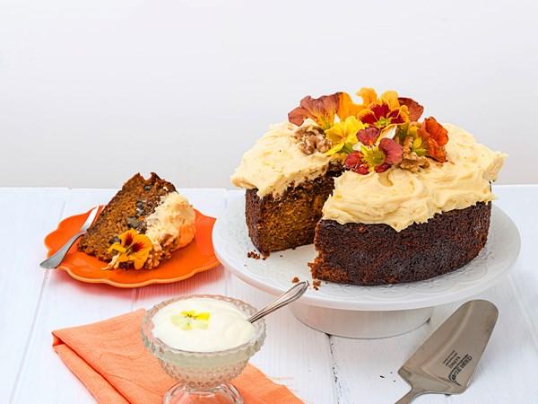 Kumara and walnut cake with caramel cream cheese frosting