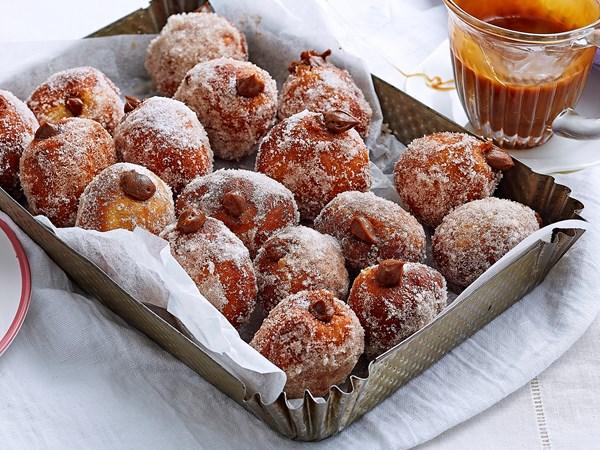 Mocha creme bomboloni with caramel sauce