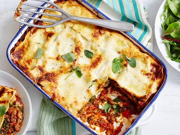 Beef, mushroom and zucchini lasagne