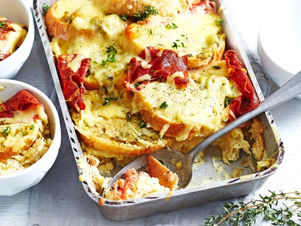 Savoury salami bread and butter pudding