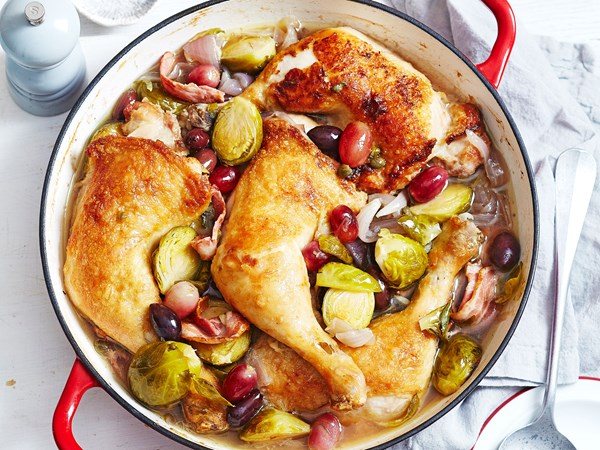 Chicken Maryland bake with grapes and olives