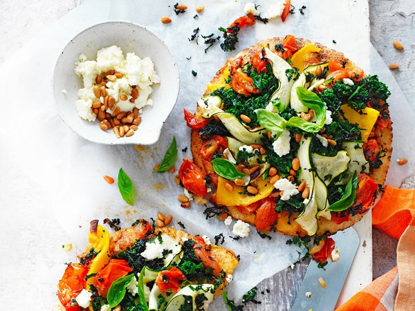 Easy pita bread pizzas with roast veges