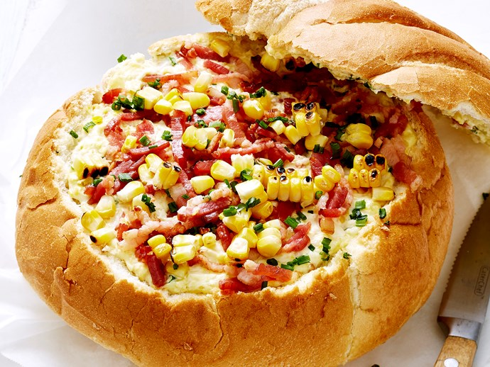 """Recipe: [Creamed corn and bacon cob loaf](http://www.foodtolove.com.au/recipes/creamed-corn-and-bacon-cob-loaf-34195 target=""""_blank"""")"""