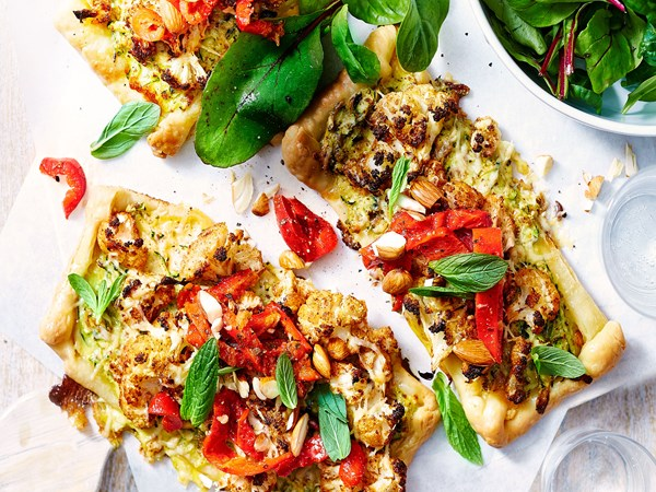 Cauliflower and courgette tart with smoked cheddar