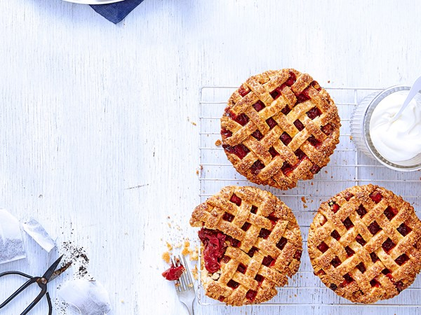 Rhubarb and rose tea pies with homemade pastry