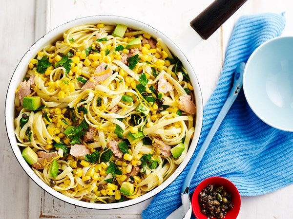 Easy lemony tuna pasta with corn and avocado