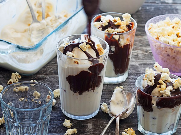 Hazelnut and hot fudge ice cream sundaes