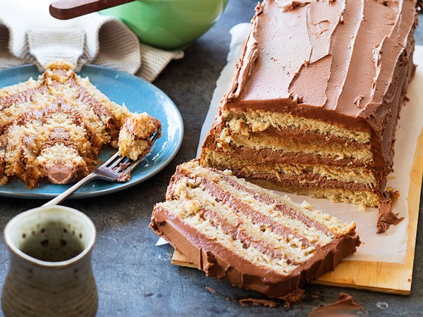 Gluten-free rum and fudge layer cake