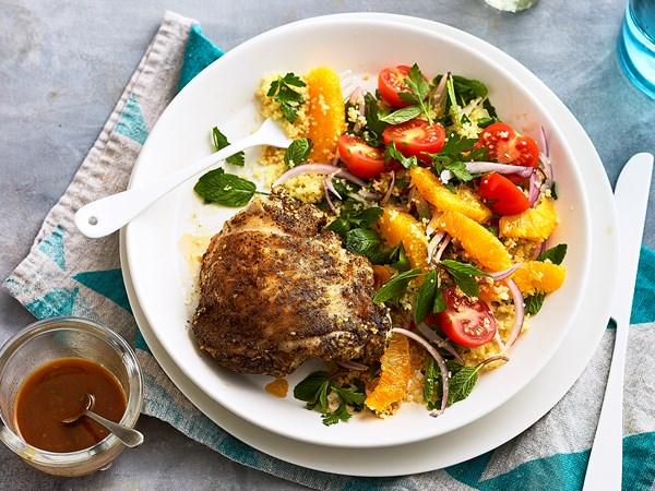 Za'atar chicken with orange couscous tabouli