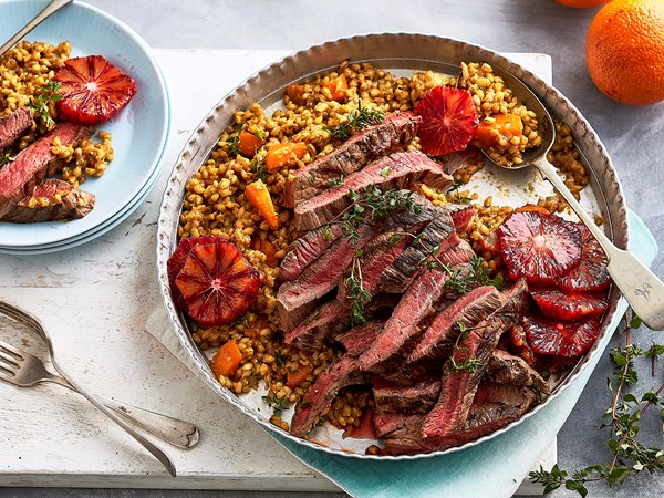 Pearl barley risotto with blood orange and pepper steak