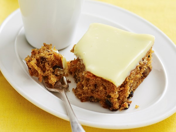 Carrot and white chocolate slice