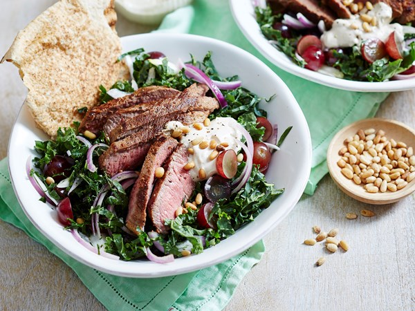 Grilled lamb with kale salad