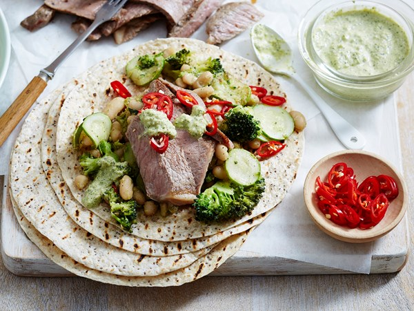 Barbecue beef tortilla with healthy smashed beans