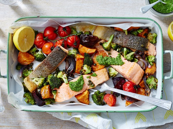 Roasted vegetables and ocean trout bake