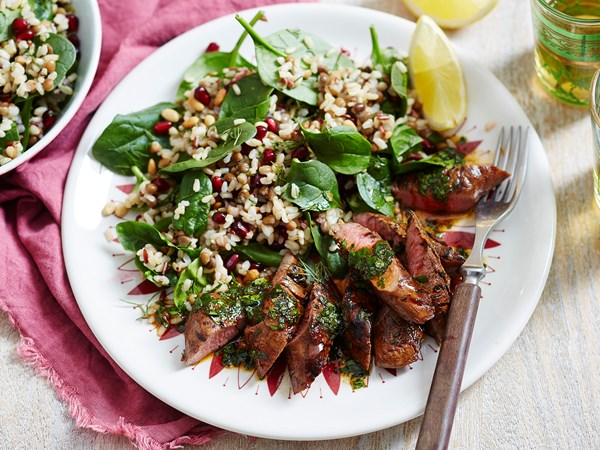 Mixed rice and lentil salad with chermoula lamb