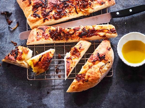 Mum's onion marmalade focaccia-style bread