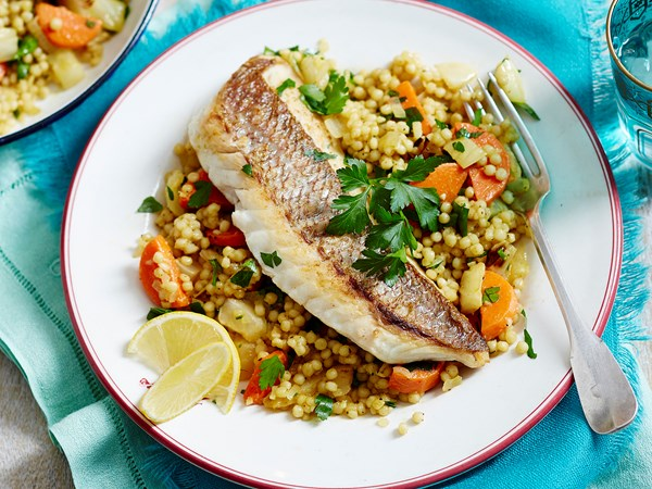 Fish, fennel and carrot with pearl couscous