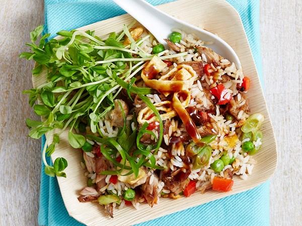 Leftover pork ribs fried rice