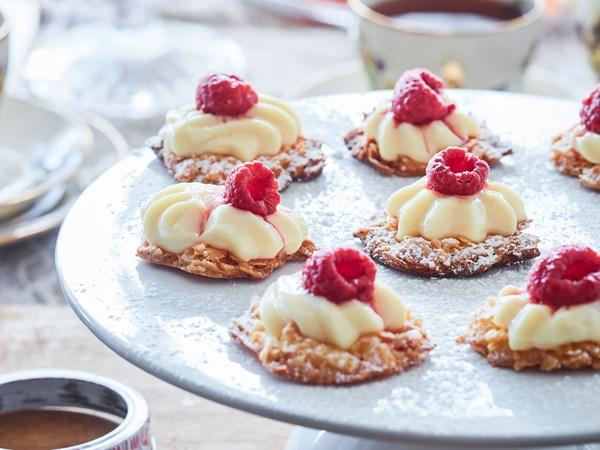 Gluten-free raspberry and custard coconut crisps