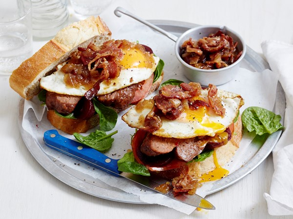 Sausage sandwiches with bacon chutney