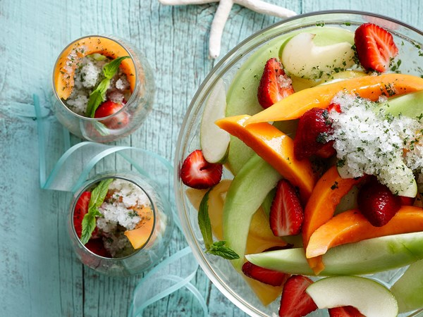 Champagne fruit salad with mint-lime granita