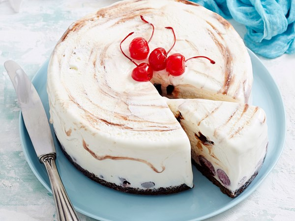 Choc cherry ice cream cake
