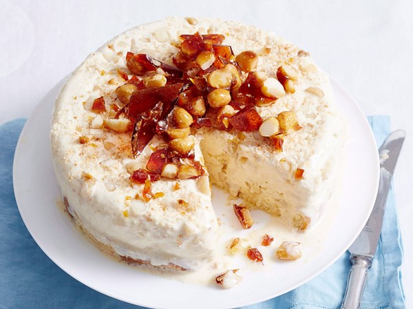 Honey, macadamia and madeira ice cream cake