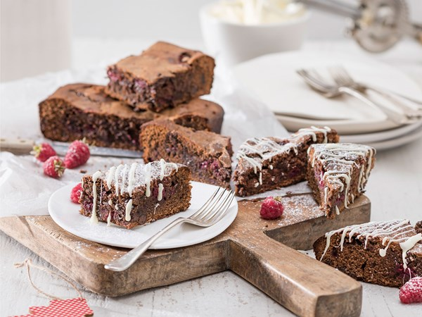Fudgy chocolate raspberry and almond brownies