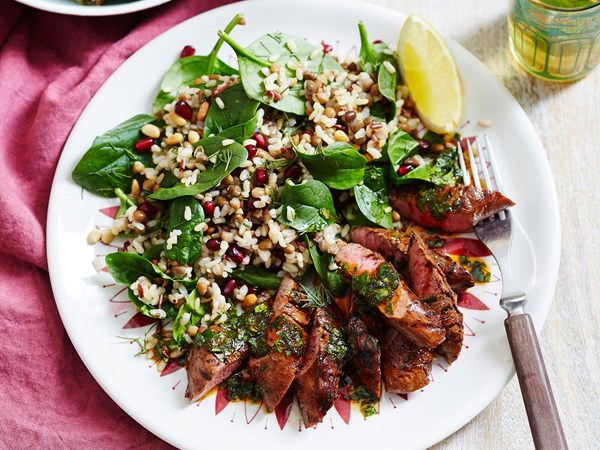 Chermoula lamb fillets with mixed rice and lentil salad