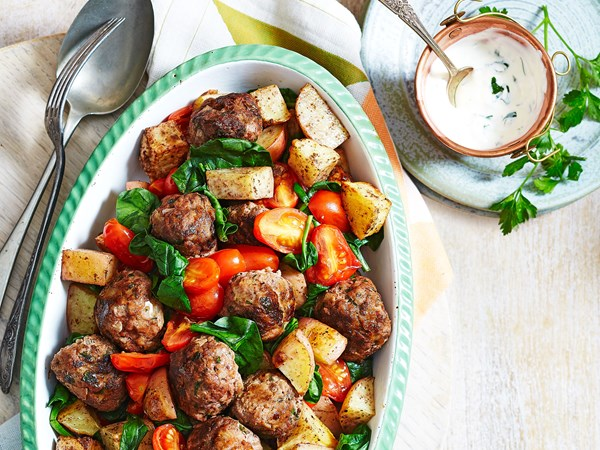 Sumac beef meatballs and potatoes with garlic yoghurt