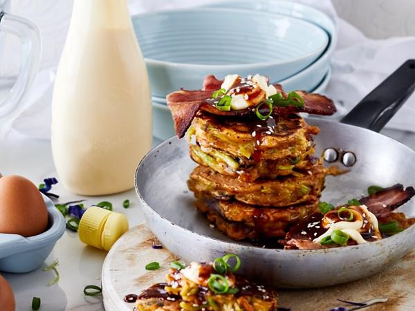 Okonomiyaki (Japanese pancake) with slaw, bacon and tonkatsu
