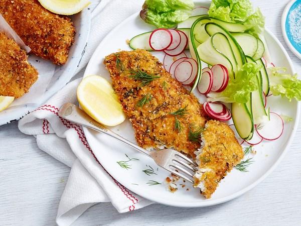 Lemon, chilli and dill fish schnitzels