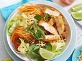 Thai red curry chicken schnitzel with crispy salad