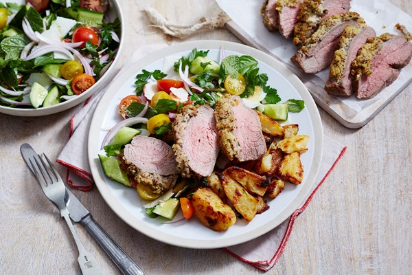 Crusted roast beef with panzanella