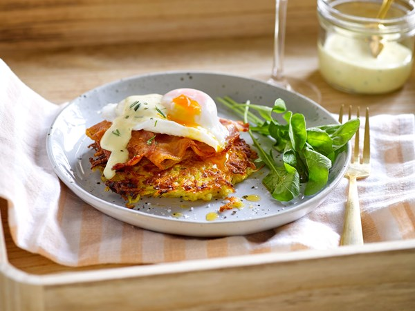 Parsnip and potato rosti with homemade rosemary hollandaise
