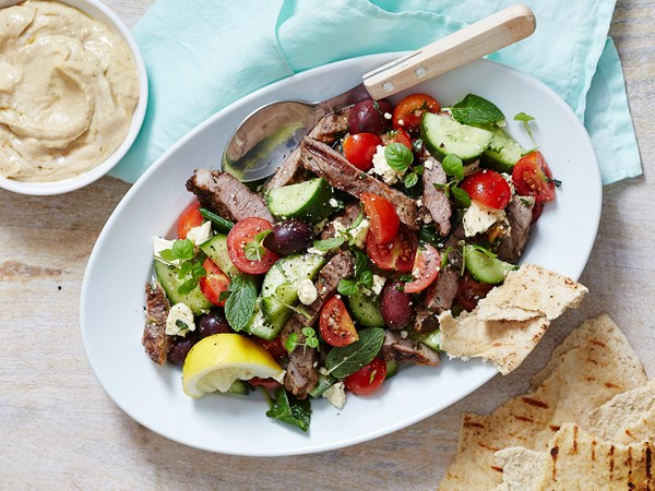 Greek salad with lamb