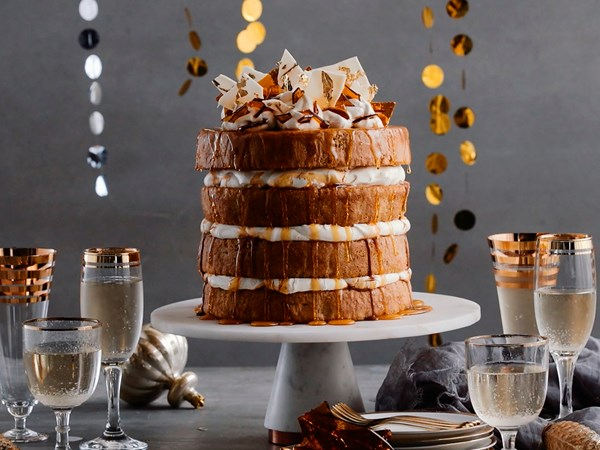Sugar and spice cake with caramel and orange cream