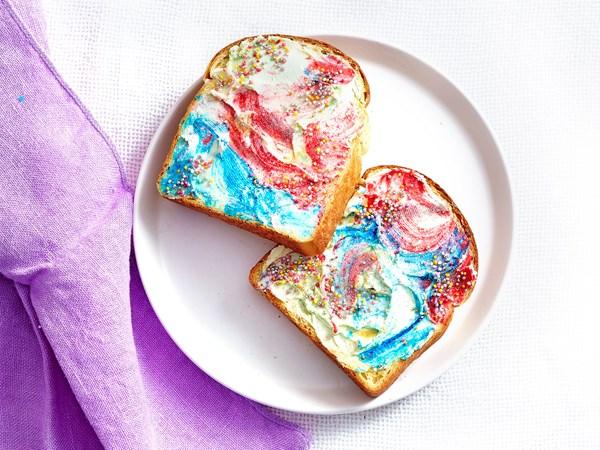 Magical colourful unicorn toast