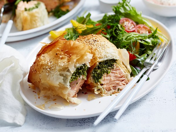 Spinach, feta and salmon parcels