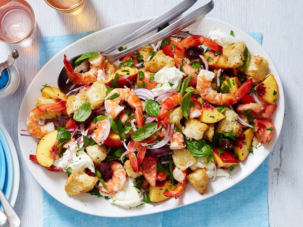 Prawn and peach panzanella