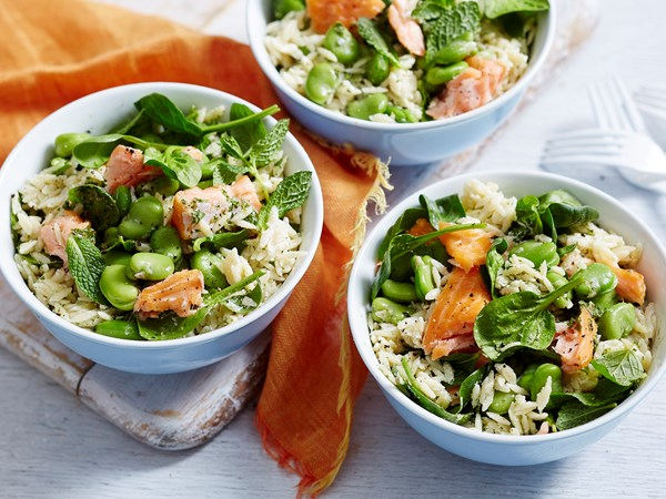 Risoni, salmon and spinach spring salad