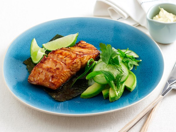 Grilled teriyaki salmon with avocado salad