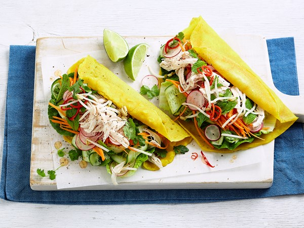 Vietnamese shredded chicken pancakes
