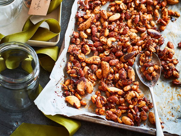 Spiced mixed nuts with paprika and honey
