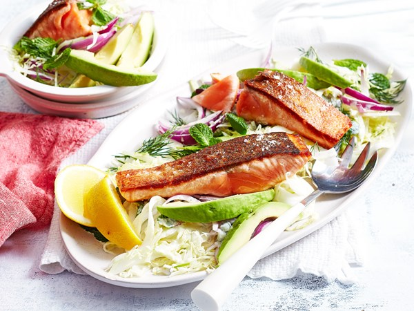 Crispy skin salmon with cabbage salad and gherkin dressing