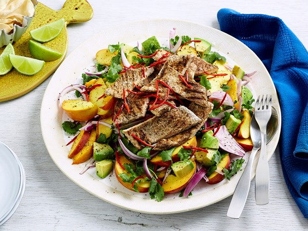 Curried turkey and peach salad