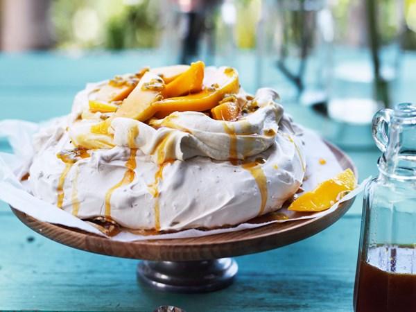 Coconut pavlova with mango and passionfruit caramel